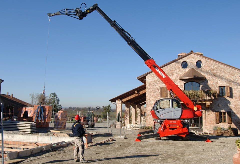 Rotated telescopic handler manitou hire